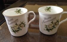 Crown Trent Staffordshire England Cup Set Of 2 Happy Anniversary