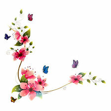 SALE Luxus Modern Blumen Schmetterlinge Wandsticker Wandaufkleber Trend