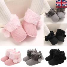 Newborn Baby Girl Fur Lined Boots Crib Pram Shoes Winter Warm Snow Booties 3-18M