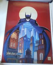 BOB KANE BATMAN NIGHT VIGIL BAT OVER GOTHAM POSTER PLATE SIGNED AUTHENTIC