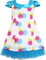 Sunny Fashion Girls Dress Blue Turn-Down Collar Lace Trim Polka Dot Size 4-10