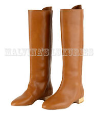 CHLOE BOOTS TALL LIGHT BROWN LEATHER LOW HEEL sz 37 7
