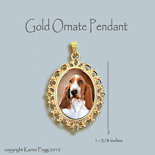 BASSET HOUND DOG - ORNATE GOLD PENDANT NECKLACE