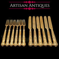 Antique Solid Silver Gilt Fruit/Dessert Knives & Forks | Queens Pattern | 1839