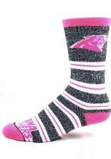 Official NFL Football Carolina Panthers Melange Pink Stripe Crew Socks Medium