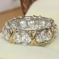 White Sapphire Bridal Women Ring Fashion Wedding 925 Gifts Jewelry Silver Band