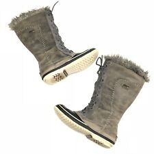 Sorel Cate The Great Waterproof Leather Winter Boots, Pewter Grey EUC Women's 9