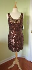 Scala 47282 Short Bronze Sequin Dress Size 14 Prom Homecoming Cocktail NEW NWT