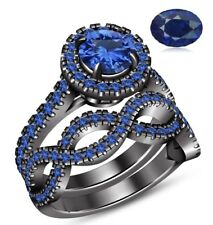 Blue Sapphire Halo Ladies Bridal Set Engagement Ring Band 14K Black Gold Finish