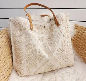 Große Schultertasche Tasche Henkeltasche Boho Shopper gewebt mit Leder natur