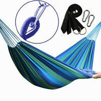 Double Hammock 2 Person Outdoor Canvas Fabric Swing Camping Hanging Bed 450Lbs