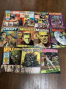 11 Monster Horror Magazines Famous Monsters Curse Frankenstein Eerie VG/F Lot #4
