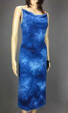 ** DOWNTOWN ** Size S (8) Blue Tie Dye Occasion Evening Dress Chain Strap-(A401)