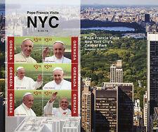 Grenada 2015 MNH Pope Francis Visits NYC Central Park New York City 6v M/S Popes