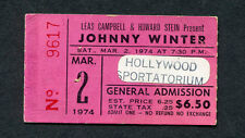 1974 Johnny Winter Concert Ticket Stub Hollywood Sportatorium Florida