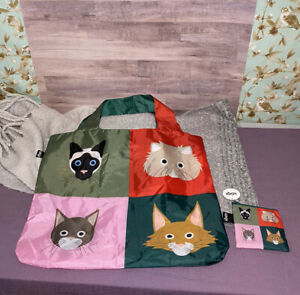 *New* LOQI Artist Stephen Cheetham Cats Reusable Tote + Zip Pouch