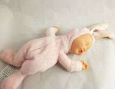 """Ann Geddes Baby Bunny Snow Doll 10"""" Plush Bean Filled Lovingly Crafted Pink"""