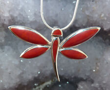 Sterling Silver & Coral Dragonfly Pendant + Chain.