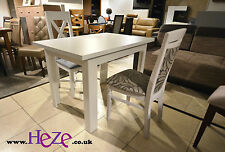 Set of White Extending Dining Table and 4 Wooden Chairs With Beige Fabric Alla2
