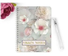 Personalised Notebook Notepad A5 School Stationary Modern Floral Wedding Planner