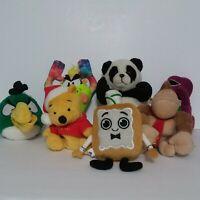 Lot Of 7 Mix Stuffed Animals Super Mario, Barney, Angry Bird Plush