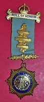Royal Antediluvian Order of Buffaloes Roll of Honour jewel RAOB silver hallmark