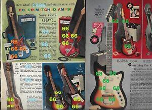 Aldens 1966 & 1968 Christmas original catalog PAGES for electric guitars