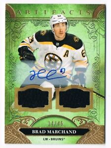 2020-21 Artifacts Dual Jersey Autograph #120 Brad Marchand 14/45