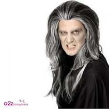 Mens Gothic Vampire Wig Black Grey Horror Dracula Halloween Pirate Fancy Dress