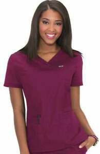 NEW KOI Classics Womens XL Nicole Scrub Top Wine 247 061 Pockets Short Sleeve