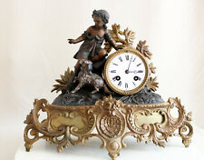 ANTIQUE 1875 FRENCH CLOCK GRACIEUS STATUE ROMANTIC GIRL WITH DOG