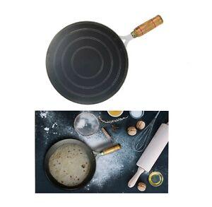 Iron Tawa Tava Crepe Pancake Pan Chapati Roti Concave Wooden Handle Heavy Duty