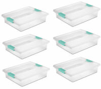 Sterilite Large File Clip Box Clear Storage Containers w/ Lid (6 Pack) 19638606