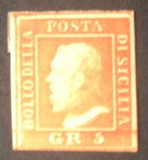timbre scicile n°21, 5 grana orange, x, TB, cote 125e