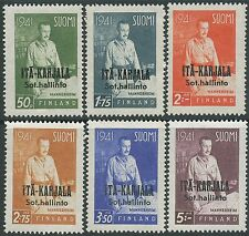 Finland 1942 MNH East Karelia Mannerheim Scott N16-21 Military Occupation Russia