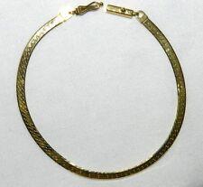 14K GOLD Flat Beveled Herringbone Link Chain Bracelet 7 In 3.2mm