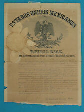 RARE * MEXICAN 1910 LETTER CONFIRMING PRESIDENT PORFIRIO DIAZ PENSION SALARY