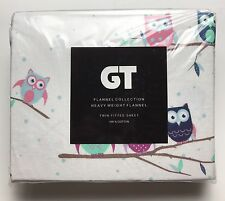 "Flannel TWIN FITTED SHEET by GT 100% Cotton 39"" x 75""-Owl-New"