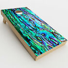 Skin Decal for Cornhole Game Board 2xpcs. / Abalone Ripples Green Blue Purple