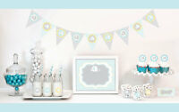 Blue Elephant Baby Shower Party Decorations Starter Kit