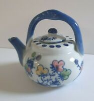 China Tea Pot Small White and Blue Flowers Polka Dots