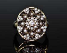 Estate 14K Gold Poison Pill Secret Compartment Diamond Seed Pearl Locket Ring