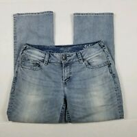 Silver Jeans Suki Capri Womens Sz 31 Blue Light Wash Mid Rise 32W 26L Summer
