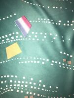 """Vintage Retro Fabric Teal Geometric 63"""" by 61"""" 90s 80s"""