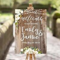 Personalised Wedding Welcome Sign  A1 / A2 / A3 Sizes  Rustic, Cream Roses 001
