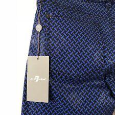 7 FOR ALL MANKIND : $190 31 Blue Black Weave Print The Skinny Coated Herringbone