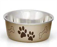 Loving Pets Metallic Bella Bowl Champagne Color Xl No skid tip noise metal inner