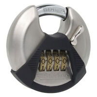Sterling 70mm High Security 4-Dial Combination Lock, Closed Shackle Disc Padlock