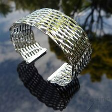 925 Sterling Silver Bracelet Bangle Wide Cuff Open Twisted Tight Plait Gift SP