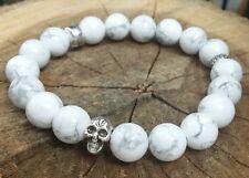 "Skull Impermanence Mala White Turquoise Beaded Stretch Bracelet   8.5"""